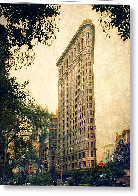Urban Buildings Greeting Cards - Flatiron District Greeting Card by Jessica Jenney