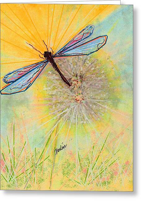 Dragonflies Pastels Greeting Cards - Flight Greeting Card by Desline Vitto