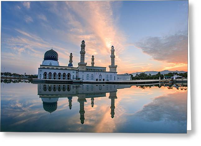 Recently Sold -  - Wishes Greeting Cards - Floating Bandaraya Kota Kinabalu Sabah Borneo Malaysia Mosque Greeting Card by James Anthony Collin
