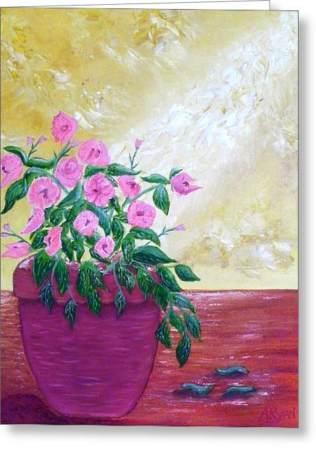 Sunlight On Pots Mixed Media Greeting Cards - Floral Greeting Card by Annette Forlenza