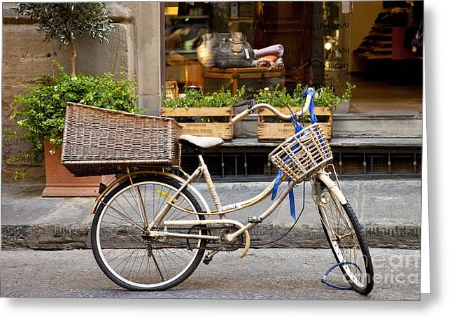European Bicycle Shop Greeting Cards - Florence Bicycle  Greeting Card by Brian Jannsen