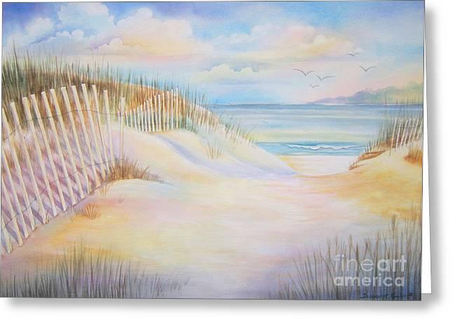 Beach Fence Greeting Cards - Florida Skies Greeting Card by Deborah Ronglien