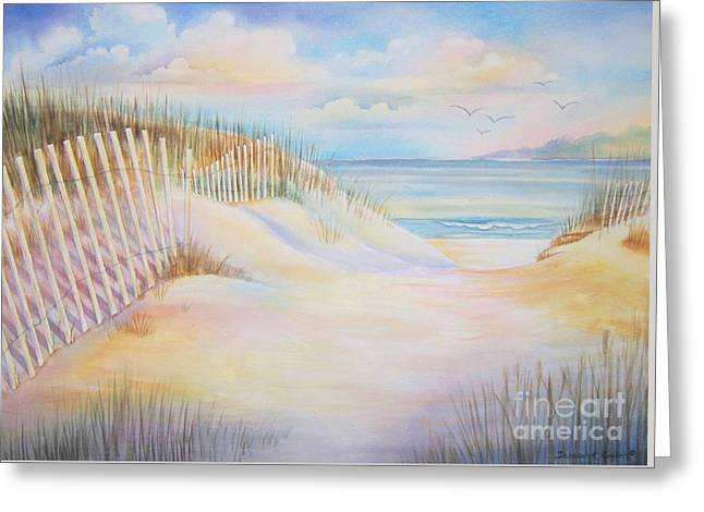 Sand Fences Greeting Cards - Florida Skies Greeting Card by Deborah Ronglien