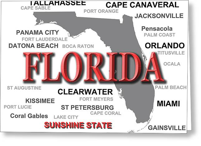 Boca Greeting Cards - Florida State Pride Map Silhouette  Greeting Card by Keith Webber Jr