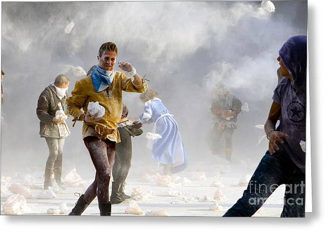 Outfit Greeting Cards - Flour Battle, Umbria, Italy Greeting Card by Tim Holt