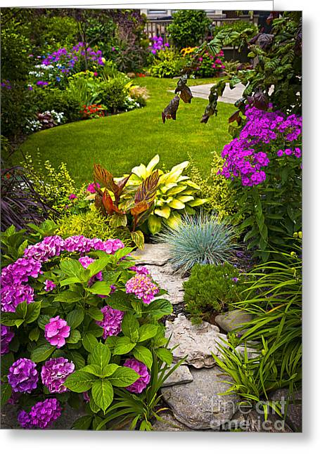 Stones Greeting Cards - Flower garden Greeting Card by Elena Elisseeva