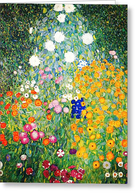 Sunset Posters Greeting Cards - Flower Garden Greeting Card by Gustav Klimt