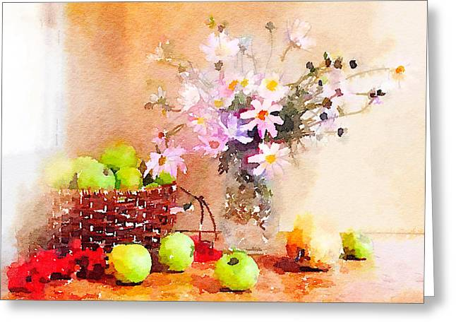 Interior Still Life Digital Greeting Cards - Flowers and Apples Greeting Card by Yury Malkov
