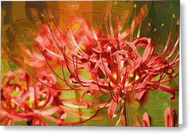 Easter Flowers Paintings Greeting Cards - Flowers canvas print Greeting Card by Victor Gladkiy