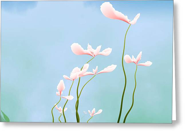 Abstract Flower Greeting Cards - Flowers of peace Greeting Card by GuoJun Pan