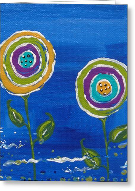 Healing Journey Greeting Cards - 2 Flowers On Blue Greeting Card by Jean Kowalski