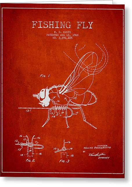 Fly Fly Patent Drawing From 1968 Greeting Card by Aged Pixel
