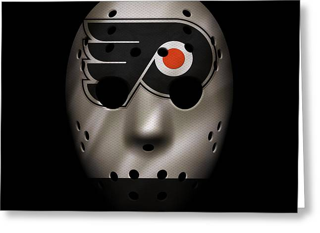 Flyer Greeting Cards - Flyers Jersey Mask Greeting Card by Joe Hamilton
