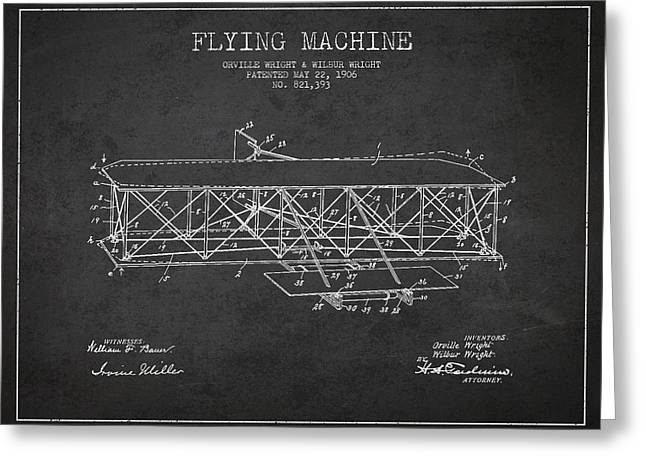 Airplane Digital Art Greeting Cards - Flying Machine Patent Drawing from 1906 Greeting Card by Aged Pixel