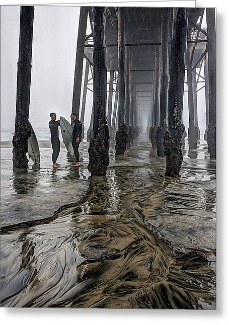 Fog At The Pier Greeting Card by Ann Patterson