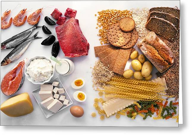 Spaghetti Greeting Cards - Food groups Greeting Card by Science Photo Library