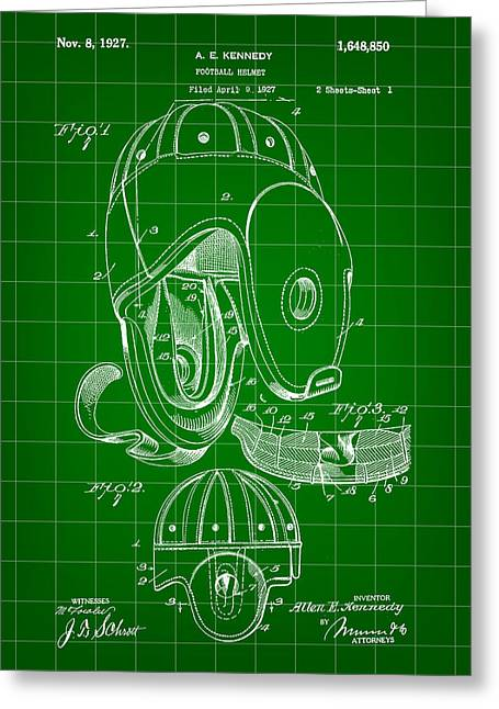 Pro Football Digital Greeting Cards - Football Helmet Patent 1927 - Green Greeting Card by Stephen Younts