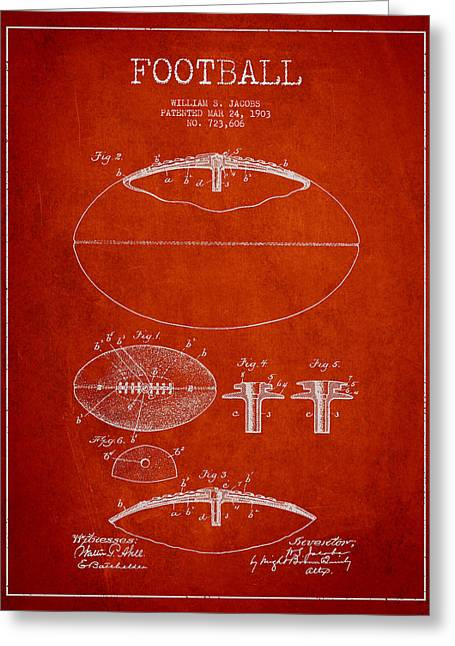 Football Digital Art Greeting Cards - Football Patent Drawing from 1903 Greeting Card by Aged Pixel