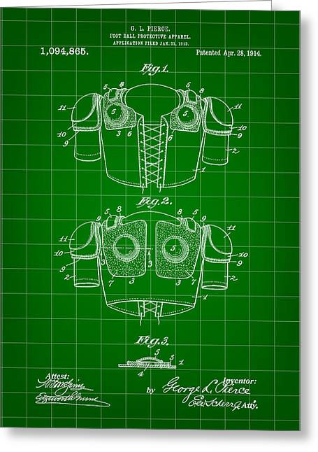 Pro Football Greeting Cards - Football Shoulder Pads Patent 1913 - Green Greeting Card by Stephen Younts