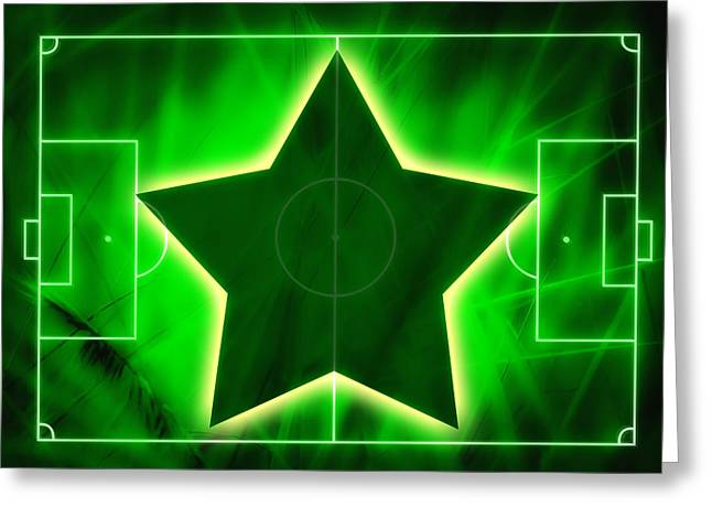 Footie Greeting Cards - Football Soccer Pitch Greeting Card by GP Images