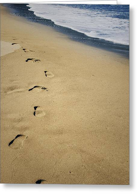 Imprint Greeting Cards - Footprints Greeting Card by Les Cunliffe