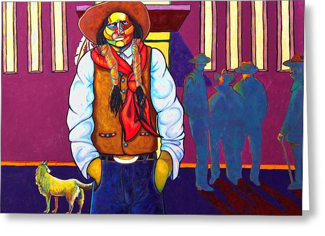 Indian Wearing Blue Jeans Greeting Cards - For Members Only Greeting Card by Joe  Triano