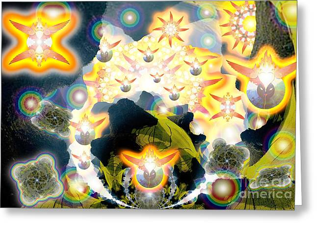 Best Sellers -  - Fractal Orbs Greeting Cards - Forces Unite Ophanim Assemble Greeting Card by Aeres Vistaas