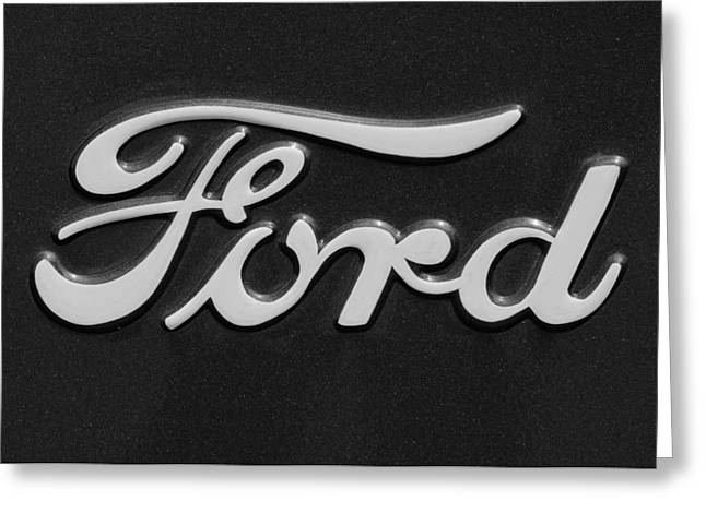 Car Photography Greeting Cards - Ford Emblem Greeting Card by Jill Reger