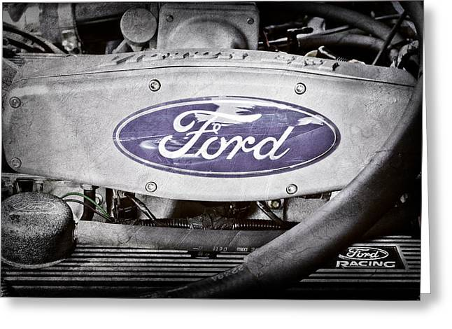 Ford Engine Greeting Cards - Ford Engine Emblem Greeting Card by Jill Reger