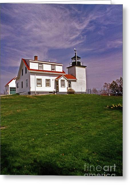 Maine Beach Greeting Cards - Fort Point Lighthouse Greeting Card by Skip Willits