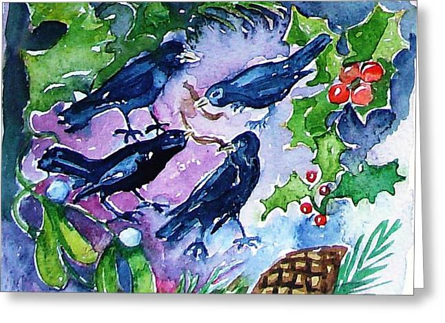 12 Days Of Christmas Greeting Cards - Four Calling  Birds Greeting Card by Trudi Doyle