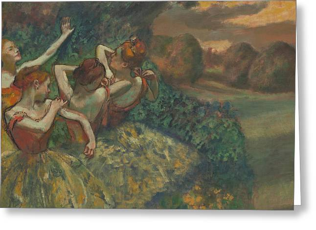 Signature Greeting Cards - Four Dancers Greeting Card by Edgar Degas