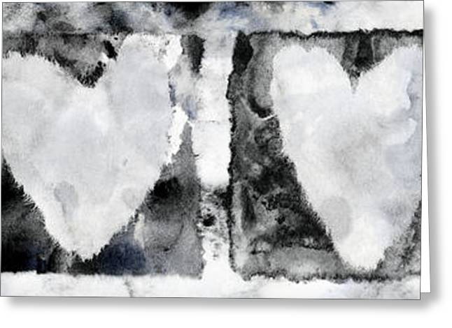 Tattered Greeting Cards - Four Hearts Greeting Card by Carol Leigh