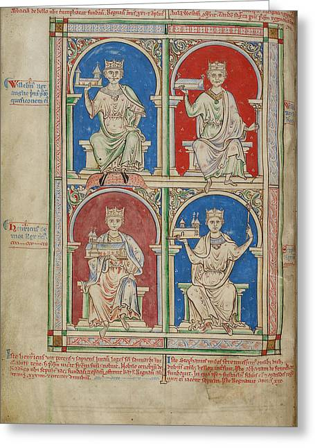 Four Kings Of England Greeting Card by British Library