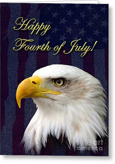 Wildlife Celebration Greeting Cards - Fourth of July Eagle Greeting Card by Jeanette K