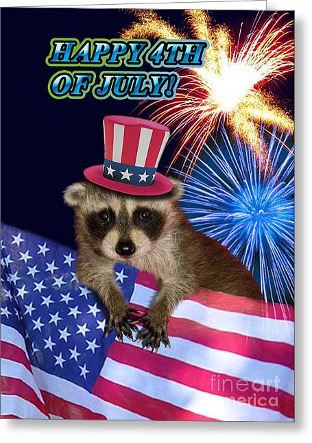 Wildlife Celebration Greeting Cards - Fourth of July Raccoon Greeting Card by Jeanette K