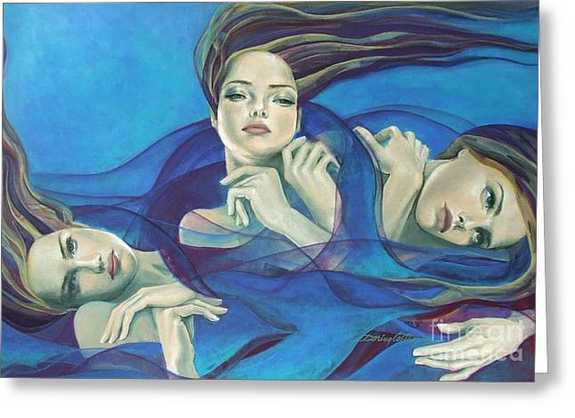 Blue And Purple Sea Greeting Cards - Fragments of longing  Greeting Card by Dorina  Costras
