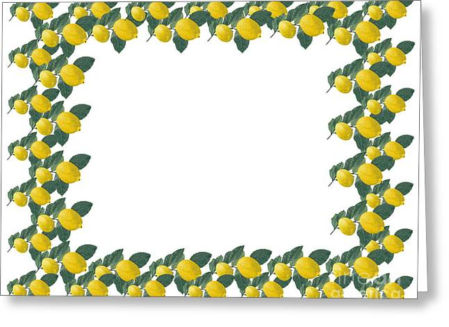 Lemon Art Greeting Cards - Frame made of several painted lemons and leaves Greeting Card by Kerstin Ivarsson