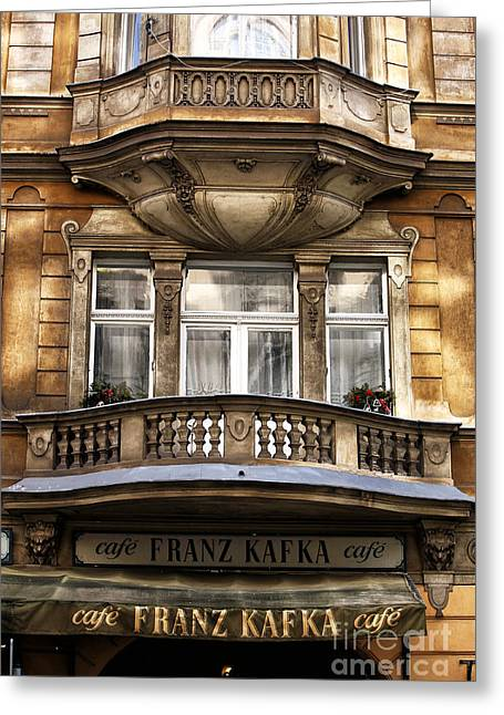 Franz Kafka Greeting Cards - Franz Kafka Cafe Greeting Card by John Rizzuto