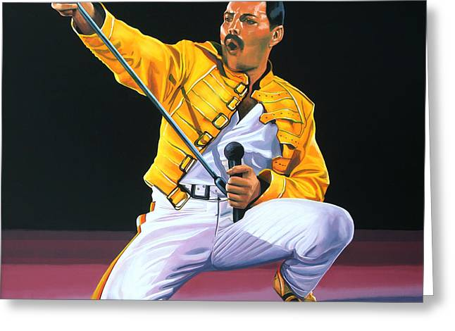 The Thing Greeting Cards - Freddie Mercury Greeting Card by Paul Meijering