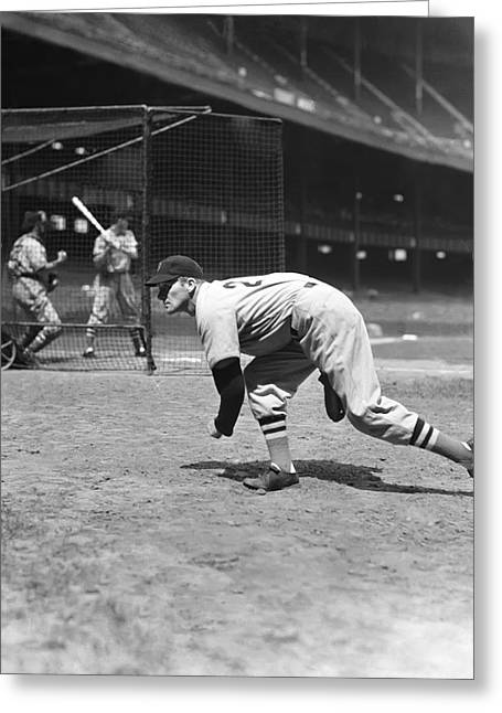Boston Red Sox Greeting Cards - Frederick R. Fritz Ostermueller Greeting Card by Retro Images Archive