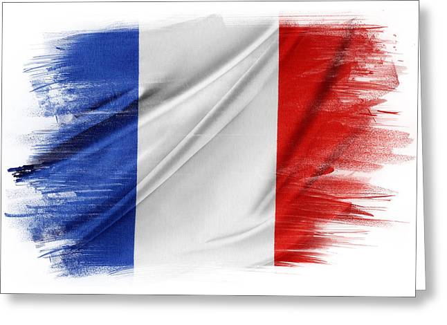 Flag Background Greeting Cards - French flag Greeting Card by Les Cunliffe