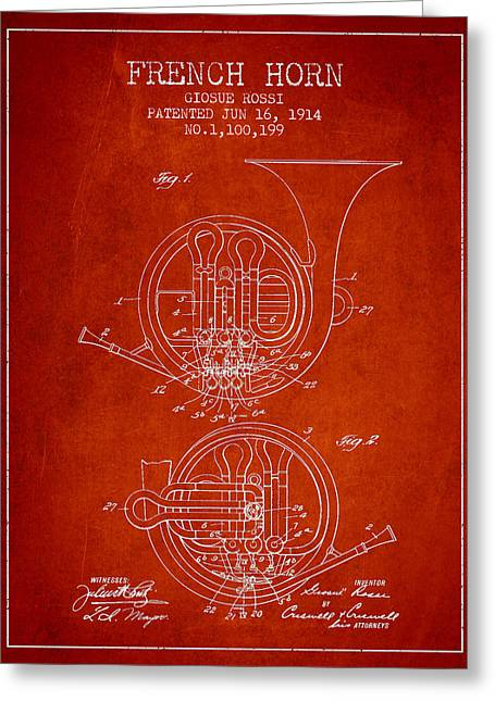 Horns Digital Art Greeting Cards - French Horn Patent from 1914 - Red Greeting Card by Aged Pixel