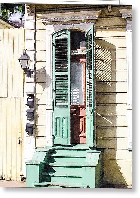 French Doors Greeting Cards - French Quarter Door Greeting Card by John Boles