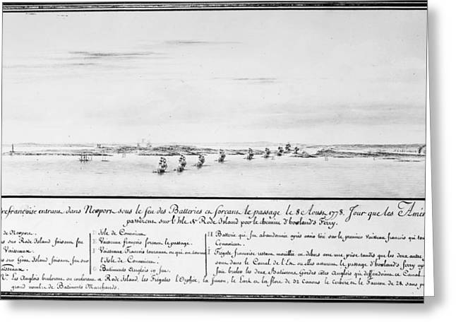 Warship Drawings Greeting Cards - French Squadron, 1778 Greeting Card by Granger