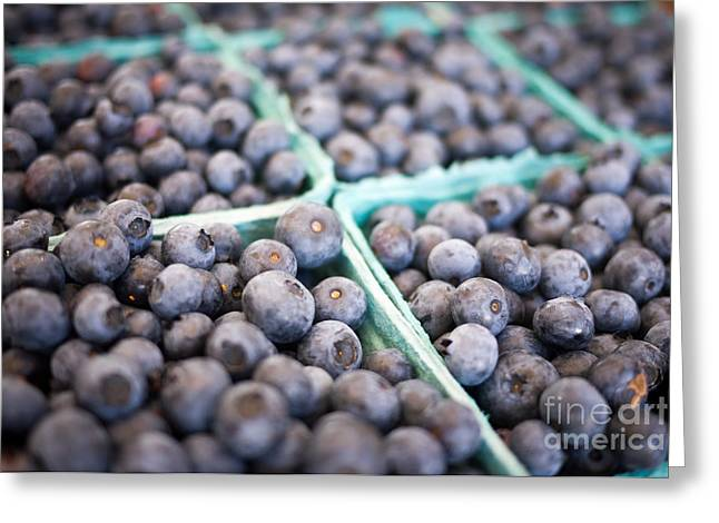 Fresh Picked Fruit Greeting Cards - Fresh Blueberries Greeting Card by Edward Fielding