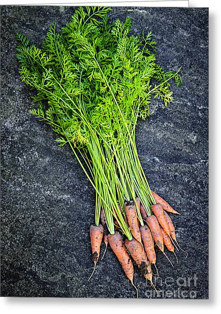 Carrot Greeting Cards - Fresh carrots from garden Greeting Card by Elena Elisseeva