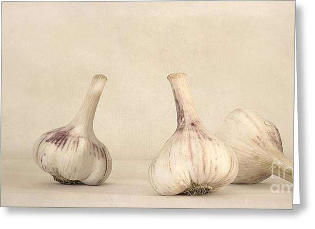 Food Still Life Greeting Cards - Fresh Garlic Greeting Card by Priska Wettstein