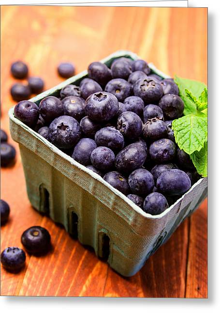Heart Healthy Photographs Greeting Cards - Fresh picked organic blueberries Greeting Card by Teri Virbickis
