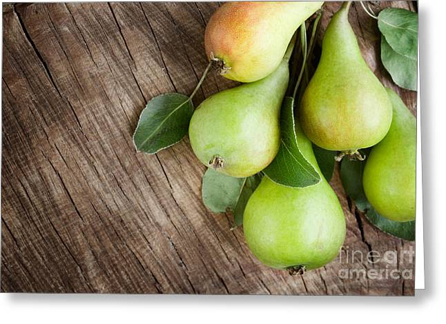 Mythja Greeting Cards - Freshly harvested pears Greeting Card by Mythja  Photography